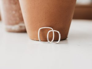 Two rings leaning against a flower pot.